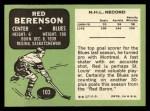 1970 Topps #103  Red Berenson  Back Thumbnail