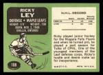 1970 Topps #108  Rick Ley  Back Thumbnail