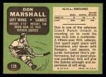 1970 Topps #129  Don Marshall  Back Thumbnail