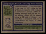 1972 Topps #85  John Brockington  Back Thumbnail