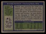 1972 Topps #57  Wayne Patrick  Back Thumbnail