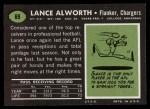 1969 Topps #69  Lance Alworth  Back Thumbnail