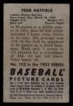 1952 Bowman #153  Fred Hatfield  Back Thumbnail