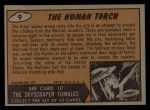 1962 Topps / Bubbles Inc Mars Attacks #9   The Human Torch Back Thumbnail