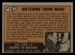 1962 Bubbles Inc Mars Attacks #13   Watching from Mars Back Thumbnail