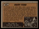 1962 Topps / Bubbles Inc Mars Attacks #42   Hairy Fiend  Back Thumbnail