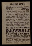 1952 Bowman #163  John Lipon  Back Thumbnail