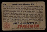 1951 Bowman Jets Rockets and Spacemen #89   Duel Over Fierson Pit Back Thumbnail