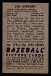 1952 Bowman #170  Joe Astroth  Back Thumbnail