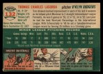 1954 Topps #132  Tommy Lasorda  Back Thumbnail