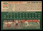 1954 Topps #144  Bill Werle  Back Thumbnail