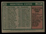 1975 Topps #101   -  Gene Mauch Expos Team Checklist Back Thumbnail