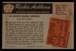 1955 Bowman #130  Richie Ashburn  Back Thumbnail