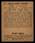 1940 Play Ball #51  Don Heffner  Back Thumbnail