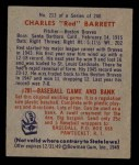 1949 Bowman #213  Red Barrett  Back Thumbnail