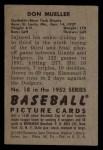 1952 Bowman #18  Don Mueller  Back Thumbnail