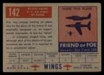 1952 Topps Wings #142   XF-92A Vultee Back Thumbnail