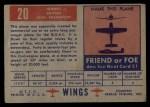 1952 Topps Wings #20   Hermes Back Thumbnail