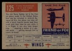 1952 Topps Wings #125   F-84-G Thunderjet Back Thumbnail