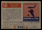1952 Topps Wings #140   XP5Y-1 Vultee Back Thumbnail