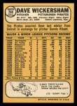 1968 Topps #288  Dave Wickersham  Back Thumbnail