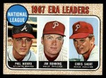 1968 Topps #7   -  Jim Bunning / Phil Niekro / Chris Short NL ERA Leaders Front Thumbnail