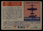 1952 Topps Wings #27   Sea Attacker Back Thumbnail