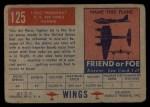 1952 Topps Wings #125   F-84-G Thunderjet Back Thumbnail