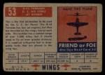 1952 Topps Wings #53   B-45 Tornado Back Thumbnail