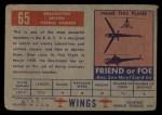 1952 Topps Wings #65   Shackleton Back Thumbnail