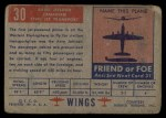 1952 Topps Wings #30   Avro Jetliner Back Thumbnail