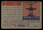 1952 Topps Wings #2   MIG-15 Back Thumbnail