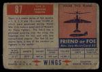 1952 Topps Wings #87   YAK-3 Back Thumbnail