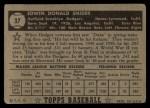 1952 Topps #37 BLK Duke Snider  Back Thumbnail