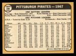 1968 Topps #308   Pirates Team Back Thumbnail