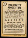 1968 Topps #559   -  Carl Taylor / Luke Walker Pirates Rookies Back Thumbnail