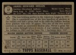 1952 Topps #17 BLK Jim Hegan  Back Thumbnail