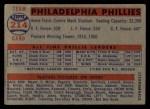 1957 Topps #214   Phillies Team Back Thumbnail