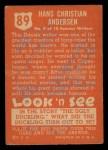 1952 Topps Look 'N See #89  Hans Christian Andersen  Back Thumbnail