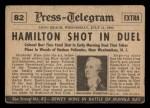 1954 Topps Scoop #82   Hamilton Shot In Duel Back Thumbnail
