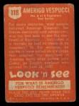1952 Topps Look 'N See #118  Amerigo Vespucci  Back Thumbnail