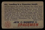 1951 Bowman Jets Rockets and Spacemen #42   Landing in Venusian Jungle Back Thumbnail