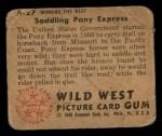 1949 Bowman Wild West #27 A  Saddling Pony Express Back Thumbnail