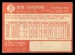 1964 Topps #221  Bob Saverine  Back Thumbnail
