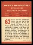 1963 Fleer #67  Gerry McDougall  Back Thumbnail