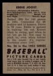 1952 Bowman #26  Eddie Joost  Back Thumbnail
