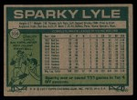 1977 Topps #598  Sparky Lyle  Back Thumbnail