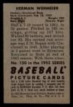 1952 Bowman #150  Herm Wehmeier  Back Thumbnail