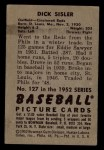1952 Bowman #127  Dick Sisler  Back Thumbnail