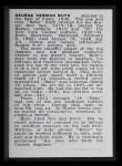 1950 Callahan Hall of Fame #63  Babe Ruth  Back Thumbnail